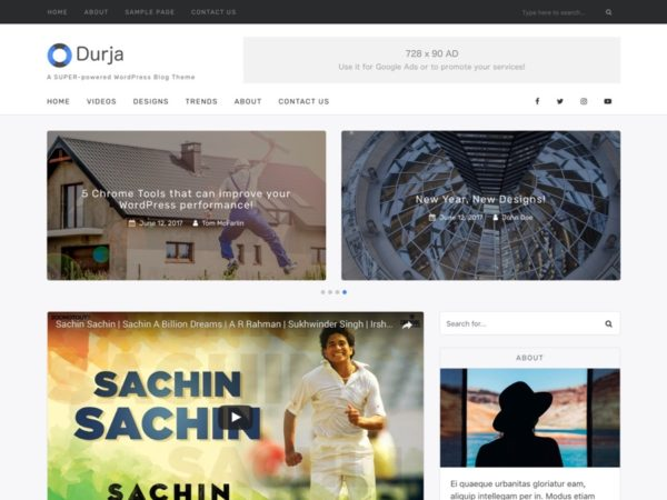Durja - Premium WordPress Blog Theme