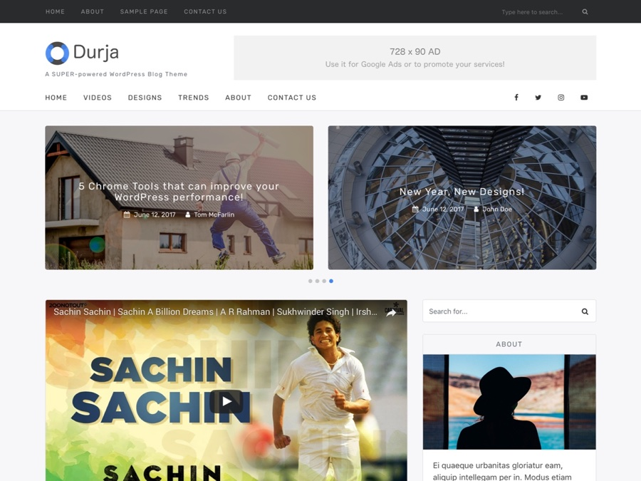 Durja - Premium WordPress Blog Theme
