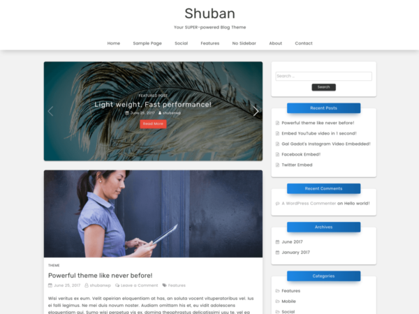 Shuban WordPress Theme